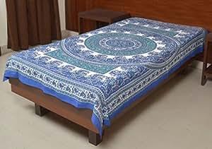 Jaipur Kala Kendra Indian lit Drap-housse pour lit simple Bleu Hippie/couvre-lit en coton Imprimé floral ethnique murale double dortoir Art Parure de lit floral bohémien la décoration de la maison