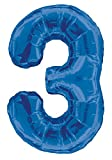 "34"" Giant Blue Foil Number 3 Balloon"