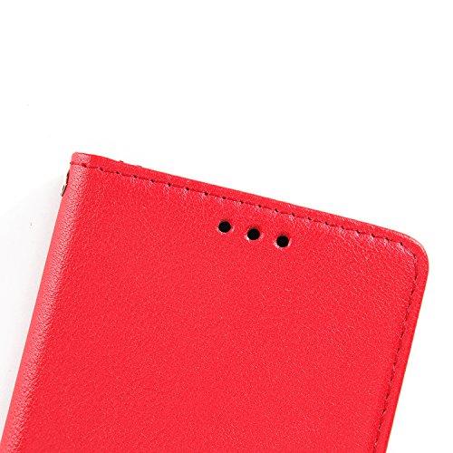 """iPhone 6s /iPhone 6 4.7"""" Hülle,MOONESS Stand Hülle Schutzhülle PU Leder Flip Tasche Case mit Karte Halter und Magnetisch Flip Bumper Ledertasche(Rosegold) Rot"""