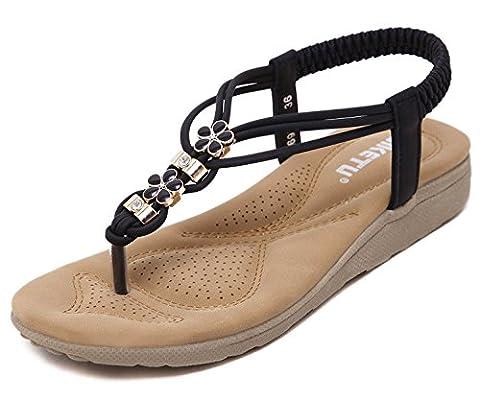 Minetom Femmes Filles Été Bohême Sandales Plat Peep Toe Flip Flops T-Sangle Tongs Chaussure De Plage Slippers Noir EU 36