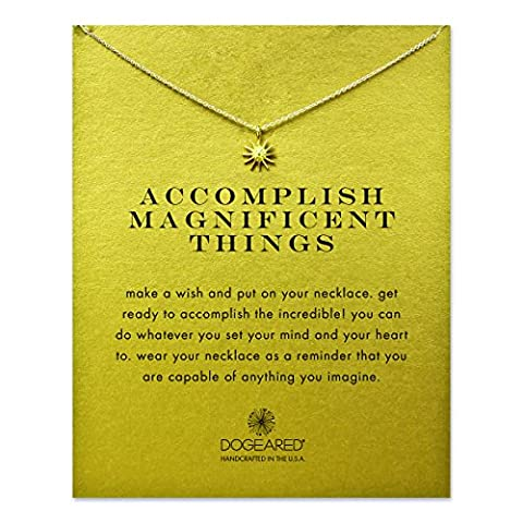 Dogeared 14 ct Gold Plated Accomplish Magnificent Things Starburst Necklace of Length 45.72 cm