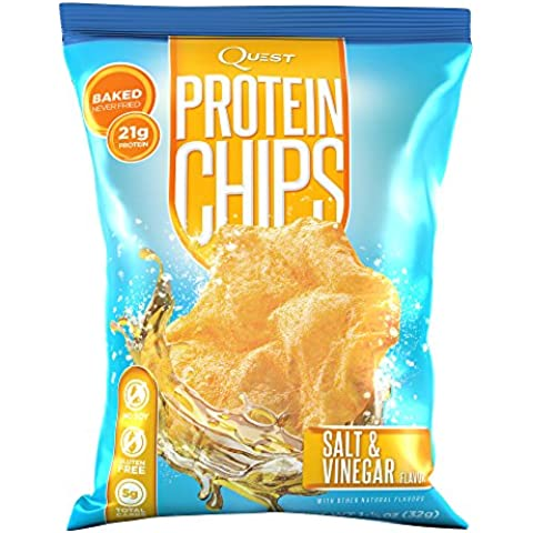 Quest Nutrition Protein Chips, Salt & Vinegar, 21g Protein, Baked, 1.2oz Bag, 8 Count