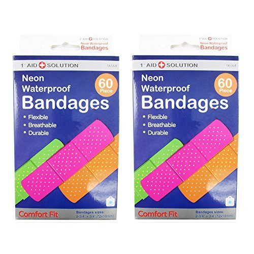 120-neon-adhesive-bandaid-waterproof-bandages-strip-3-4-kids-children-first-aid-by-nexcare