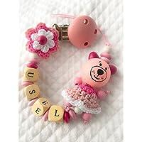 Catenella portaciuccio rosa | nome personalizzabile