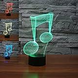 3D musik fest Glühen LED Lampe 7 Farben erstaunliche optische Täuschung Art Skulptur Ferneinstellung Lichter produziert einzigartige Lichteffekte und 3D-Visualisierung für Home Decor-kreative Geschenk