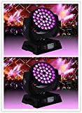 2 x36pc 6in1 LED 15w Moving Head Wash Zoom Stage Disco Lighting