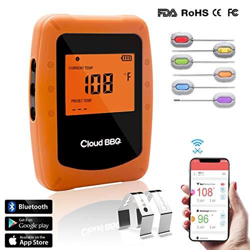 Cadrim Termometro per Barbecue Wireless, Termometro per Barbecue Bluetooth Wireless con 6 Sonde, Schermo LCD con Design Magnetico, Supporta iOS, Android, per Forno, Barbecue, Cibo,Carne, Acqua ECC