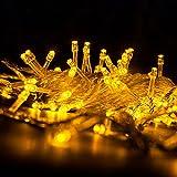 YOEEKU 100 LED feux clignotants à cordes décorations de Noël 10M étoiles chaîne lumières de Noël mariage plein étanche à l'eau (Blanc chaud)