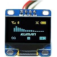 Kuman 0.96 Pulgada Azul Amarillo IIC Módulo OLED I2c IIC Serial 128x64 LCD Pantalla para Arduino Raspberry pi KY34-BY (Blue+yellow)