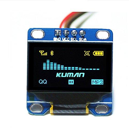 Kuman 0.96 Pulgada Azul Amarillo IIC Módulo OLED I2c IIC Serial 128x64...