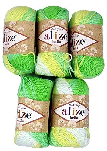 Alize Bella 5 x 50 Gramm Baumwolle mehrfarbig mit Farbverlauf, 250 Gramm Wolle aus 100% Baumwolle, Strickwolle (mint grün gelb weiß 2131)