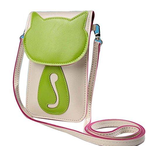 BZLine® Femme Mini Sac à Main en Cuir Artificiel   Sacs Bandoulière à Motif Chat   Taille: 19*12CM Beige