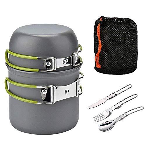 SOBER Camping Kit Batterie De Cuisine,Randonnée Pédestre Cuisine équipement UltraléGer Couteau Fourchette Multifonction Cuillère Spork Bols pour 1-3 Personnes