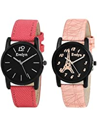 Evelyn Analogue Black Dial Women's And Girl's Watch Combo-Eve-553-Eve-499