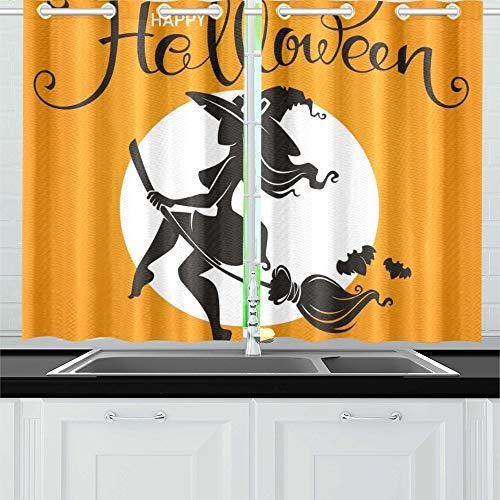 JIUCHUAN Halloween-Party-Einladung Grußkarte Attraktive Küchenvorhänge Fenstervorhangebenen für Café, Bad, Wäscherei, Wohnzimmer Schlafzimmer 26 X 39 Zoll 2 Stück (Halloween 26 Party-oktober)