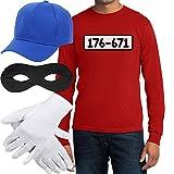 Panzerknacker Banditen Kostüm Langarm-Shirt + Mütze + Maske + Handschuhe Langarm T-Shirt X-Large Rot