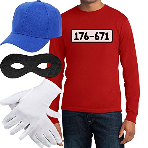 Kinder Disney Kostüm Billig - Panzerknacker Banditen Kostüm Langarm-Shirt + MÜTZE + Maske + Handschuhe Langarm T-Shirt Medium Rot