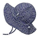 Jan & Jul Unisex Sonnenschutzhut für Kleinkinder 50 UPF, Gute Passform, Kordelzug Verstellbar (M: 6-24 Monate, Marine Wellen)