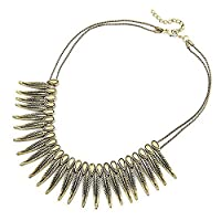 Neevas Women Gold Vintage Exaggerated Punk Feather Short Choker Necklace Jewelry Chain