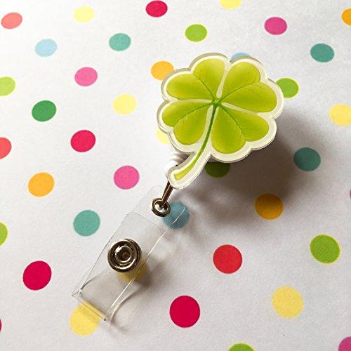 Clover Green Leaf verziert Retractable Badge Reel ID Holder mit Clip Unterstützung Leaf Design Snap