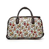 LeahWard® Frauen Girl's Holdall Faux Leder Gepäck Tasche Hand Gepäck Reise Koffer Urlaub Damen Taschen CW02 (L Hellblau Eule)