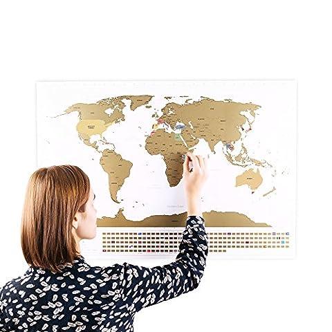Rubbel Weltkarte mit Fahnen (Englisch) XXL + BONUS A4 Größe Rubbellandkarte der UK! - Personalisiertes Poster um Reisen zu verfolgen - Zeigen Sie Ihre Abenteuer! | Einzigartiges Design von ENNO VATTI (Schwarz | 84 x 58