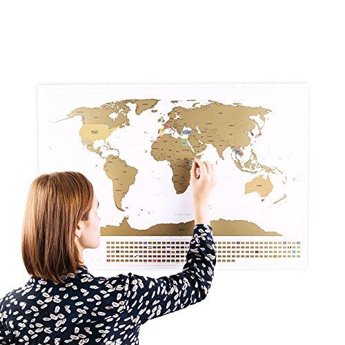 Rubbel Weltkarte mit Fahnen (Englisch) XXL + BONUS A4 Größe Rubbellandkarte der UK! - Personalisiertes Poster um Reisen zu verfolgen - Zeigen Sie Ihre Abenteuer! | Einzigartiges Design von ENNO VATTI (Schwarz | 84 x 58 cm)