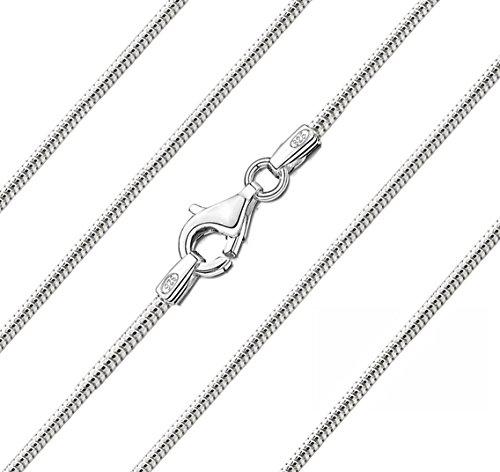 Carolina Meyer Silber Halskette Damen 925/000 Sterlingsilber Schlangenkette 1.8mm Diamantierte Silber Kette 45cm / 50cm / 55cm