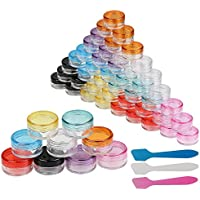 54pcs de Envases cosméticos de LANMOK con 3pcs raspador de colores varios, plástico, portátil para llenar Productos de cuidado de la piel, cosmético
