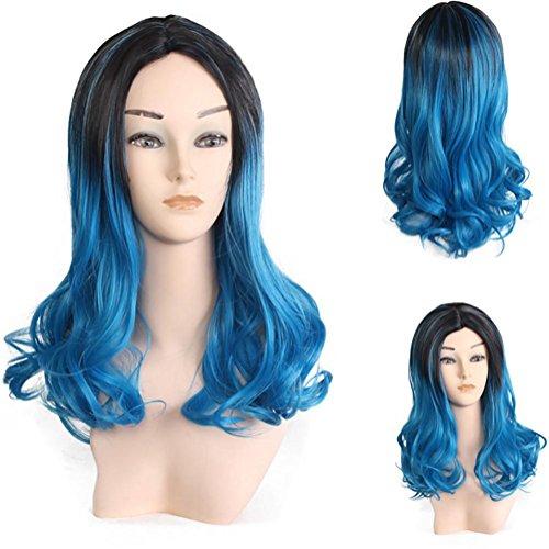 JMQ Lockige PerüCke Lange Fibrous Lange Schwarze Locken Farbe Lange Locken In Der GroßEn Kopfhaut Lockiges Haar Cosplay TäGlichen Gebrauch , black mix blue ()
