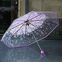 Footprintse Parasol Plegable Compacto de Cerezo Paraguas Transparente Transparente Tres Paraguas Plegado a Prueba de Viento 8 Costillas Paraguas de Lluvia-Color: púrpura Claro