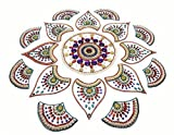 Handcrafted Decorative Rangoli set – Jewel Stone/ Kundan Decorations on Acrylic Base – 17 piece set - for Home Décor
