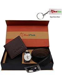 RedFish Stylist Wrist Men Watch,Belt And Brown Wallet Combo - (RDF-1017-QWX)