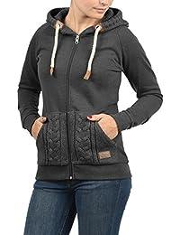DESIRES Matilda Damen Sweatjacke Kapuzen-Jacke Zip-Hoodie mit Strick-Kapuze aus hochwertiger Baumwollmischung