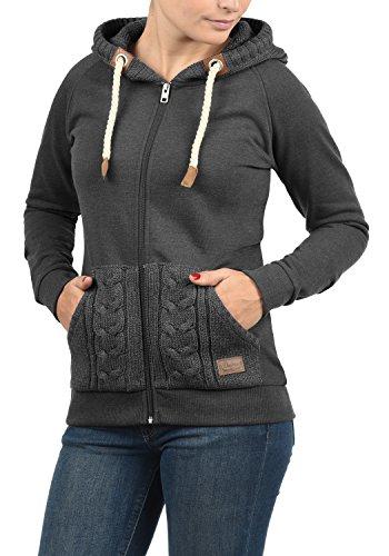DESIRES Matilda Damen Sweatjacke Kapuzen-Jacke ZIp-Hoodie aus hochwertiger Baumwollmischung, Größe:L, Farbe:Dark Grey Melange (8288)