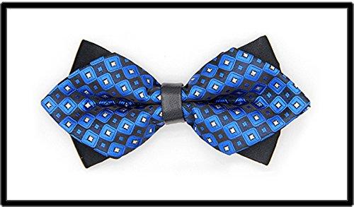 IXI.XIX Pajarita azul con punto, vestido formal masculino, boda en inglés, versión coreana, novio doble boda, corbatas de cuero para hombre y mujer, E