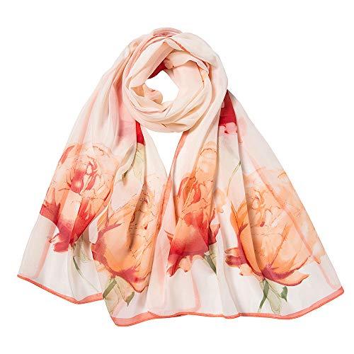 Seiden-Tuch Damen Blumen Muster - Eleganter Sommer-Schal für Frauen - Oyedens Halstuch und Chiffon-Stola Dezent Stilvoll