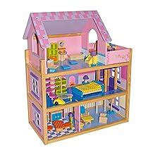 """small foot 1535 Puppenhaus """"Rosa"""" aus Holz, mit 3 Etagen, Wendeltreppe, Fahrstuhl und 23 Puppenmöbeln, ab 3 Jahren"""