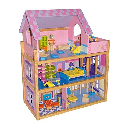 """Puppenhaus """"Rosa"""" aus Holz, in einem zauberhaft klassischen Design, Spielspaß über drei Etagen, mit Fahrstuhl und Wendeltreppe, inkl. 23 Puppenmöbel, offene Seite für einfaches Bespielen"""