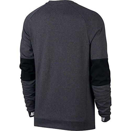 Nike M NSW AV15 CRW FLC - Langärmeln T-Shirt Grau Charcoal Heathr/Black/Black/White