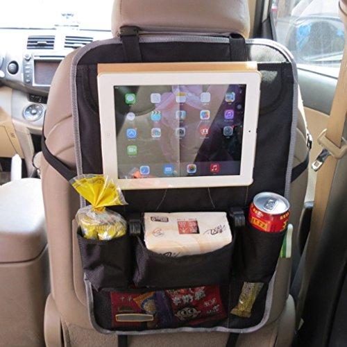 FakeFace 1080D Oxford Gewebe Auto Rücksitztasche mit 9 Fächern Organizer Rückenlehnentasche Utensilientasche Speicherbeutel für iPad Flaschen Magazin Schirm (Grau) 9 Oxford