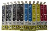 12 x komp. Druckerpatronen für Epson T1291 T1292 T1293 T1294 T1295 - 6 x Schwarz 2 x Blau 2 x Rot 2 x Gelb