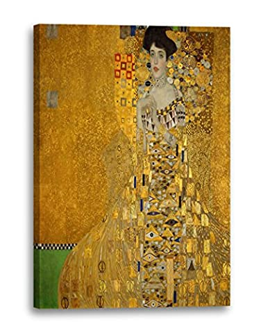 Gustav Klimt - Adele Bloch-Bauer I (1907) (80 x 60 cm), Canvas print framed on wooden frame and ready to hang, high quality print made in Germany.