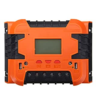 KUNSE Pwm 12V/24V Solar Charge Controller Battery Charging LCD Display Backlight 10A/30A/40A/50A/60A-10A