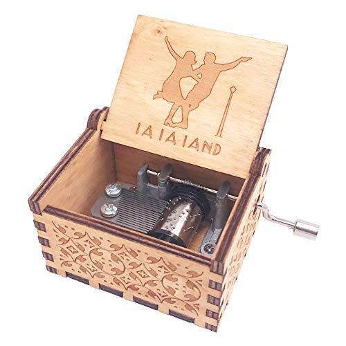 YouTang Lalaland Musik Box Handkurbel Spieluhr Geschnitzt aus Holz, Play Das Thema Lied von Lalaland Lalaland Theme Braun - Schmuck-box Musikalische