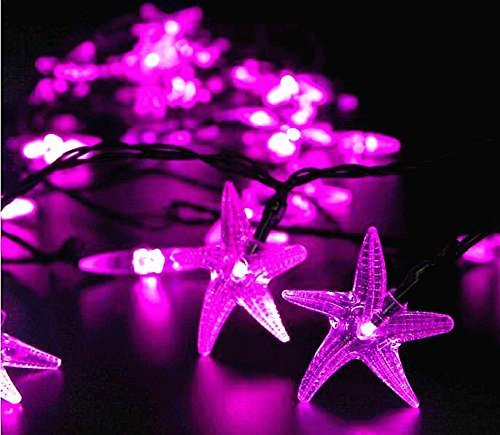 (PRIMI 6MLED Seestern Solar Weihnachtsbeleuchtung Lichterkette für Outdoor Garten Dekoration (Pink))