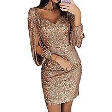4942a50ea04fe ORANDESIGNE Robe Femme Sexy Slim Couleur Unie Robe Soirée Manches Longues à  Franges Robe Cocktail Col