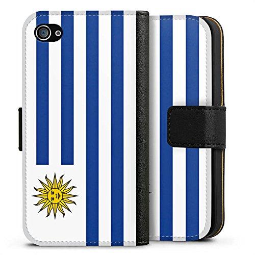 Apple iPhone X Silikon Hülle Case Schutzhülle Uruguay Flagge Fußball Sideflip Tasche schwarz