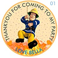 "design buddies Personalised Fireman Sam 50mm 2"" Party Stickers thank you labels,thank you for coming to my party labels"