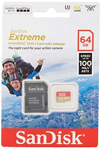 SanDisk Extreme - Tarjeta de memoria 64GB microSDXC para móvil, tablets y cámaras MIL +...